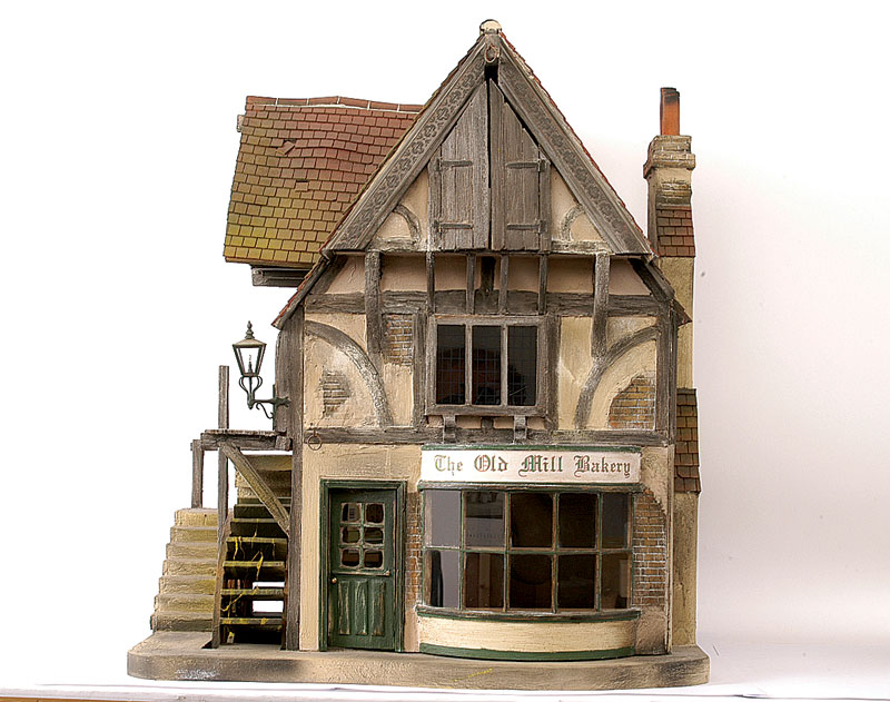 Vic Newey The Old Mill Bakery Modern Dolls House Watermill Opening To Front Reveal Three Rooms On Storeys Large Shop Window With Small Georgian