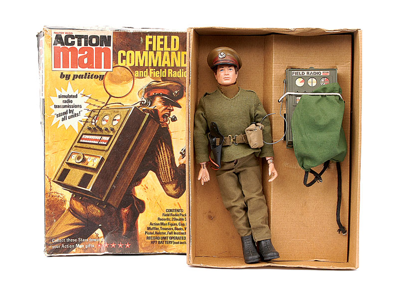 Palitoy Action Man Field Commander And Radio Comprising Brown Flock Haired Figure Blue Eyes Rigid Hands Officers Cap Jersey Trousers Scarf