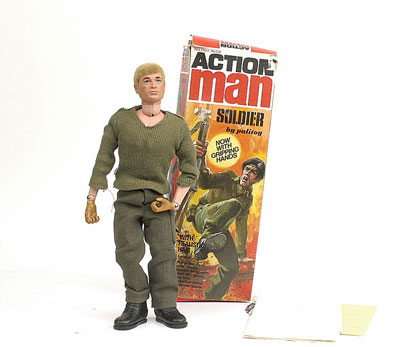 A Palitoy Action Man Soldier 1970s Now With Gripping Hands Blonde Flock Hair Blue Painted Eyes Jersey Trousers And Boots That Really Grip