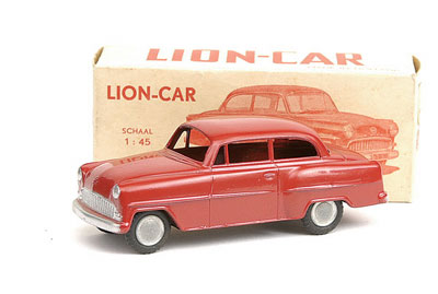 Lion Car (Holland) Opel Rekord - red - Near Mint (factory paint bubble to one rear wing) in Excellent to Excellent Plus box - nice example
