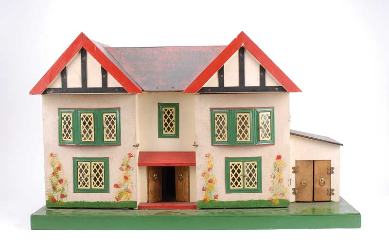 Wooden Dolls House, 1950s/60s, Twin Eaved, Twin Opening To Front, Revealing  Four Rooms On Two Storeys, Central Front Door And Staircase, Garage To  Side, ...