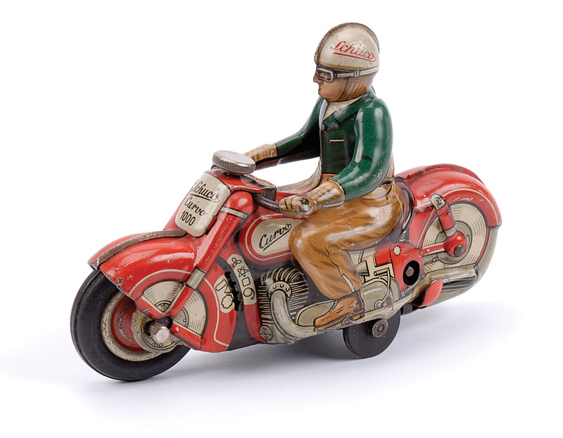 Schuco (Made in US Zone) Curvo 1000 Motorcycle - green and brown rider, red bike, in working order, wear to edges and to driver's elbows otherwise Good Plus