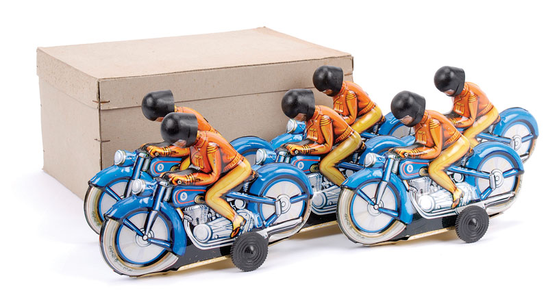 PN (Philip Niedermeier - Germany) Trade Box for 6 Motorcycles containing 6 - each friction drive Motorcycle is 17cm, blue with detailed tinprinting including rider, who unusually has removable plastic helmet with visor - some light storage wear but genera