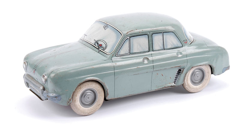CIJ (France) Renault Dauphine - grey, detailed tinprinting, friction drive with solid white rubber tyres (friction drive not working) - some general wear and overall Good, 21cm long
