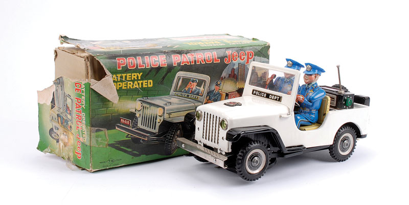 TN (Japan) battery operated Police Patrol Jeep with mystery action - white Jeep, two blue police figures