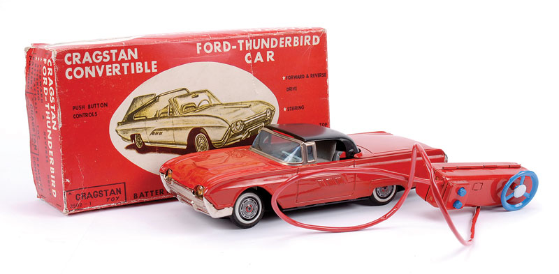 Cragstan (Japan) battery operated remote control Ford Thunderbird 2 seater with forward and reverse drive, steering and retractable top - Mint in Good original box