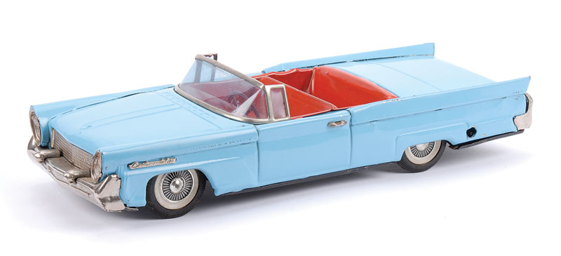Japanese tinplate clockwork open-top Lincoln Continental - pale blue, red interior, bright chrome radiator front and rear bumpers - overall Good to Good Plus, 30cm long
