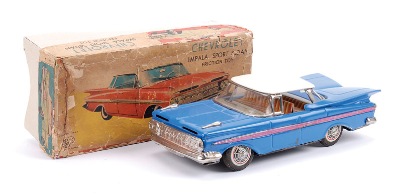 ATC (Japan) friction drive Chevrolet Impala Sports Sedan, blue body, white roof, detailed tinprinting interior, chromed radiator and bumpers, in Good working order - some play wear marks but generally Good Plus to Excellent in part original box (lid is or