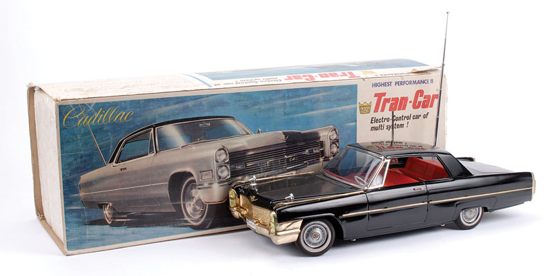 ATC (Asahi Toy Japan) Cadillac Electro-Control Car of multi system - black body, red interior, gold radiator and bumpers with aerial receiver