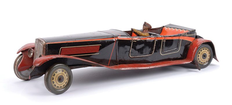 JNF (Germany) large tinplate clockwork 4-seater open Sports Car - black body, red wings and running board, driver with steering wheel, with working clockwork mechanism - driver is significantly tarnished and with surface rust, some paint touch-ins around