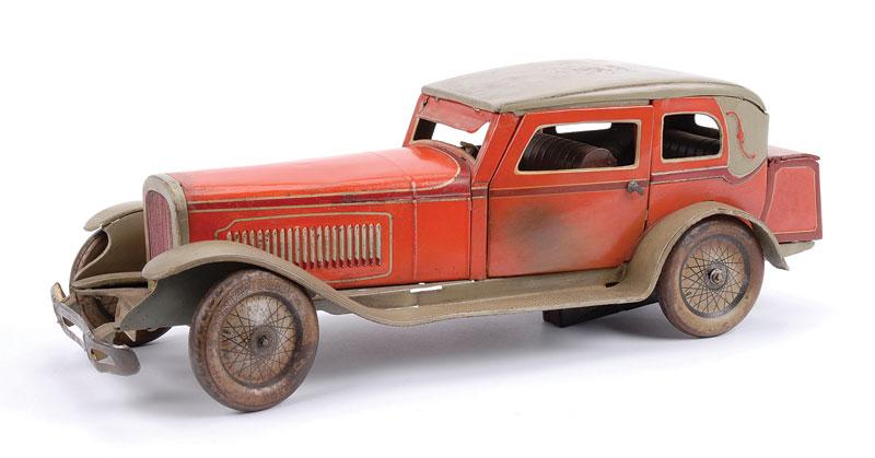 Tipp & Co (Germany) large clockwork tinplate 2-door Sedan - red body, grey roof, wings and running board, opening rear boot, chauffeur, brown tinplated interior, opening doors working mechanism