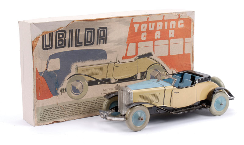 Chad Valley tinplate Ubilda Touring Car with cream and pale blue body, pale blue interior, blue and grey pressed wheels, clockwork in working order