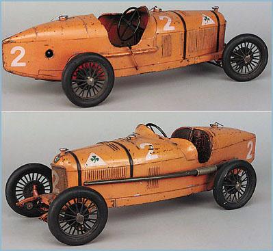 Cij Orange Painted Tinplate Alfa Romeo P2 Raving Car Clockwork