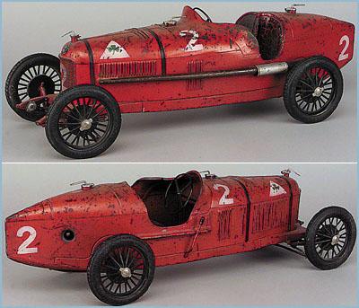 Cij Red Painted Tinplate Alfa Romeo P2 Racing Car Michelin
