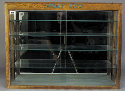 Dinky Toy Oak And Glass Display Cabinet