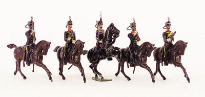 Britains - Set 13 - The 3rd Hussars - 1903 version - comprising of 4 Mounted Hussars on brown cantering Horses, together with an Officer on black prancing Horse - fixed arm with tin sword - short carbines - mainly G
