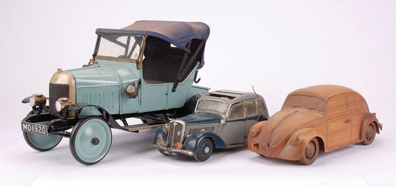 felt cars wolseley bullnose morris and vw beetle large handbuilt wooden