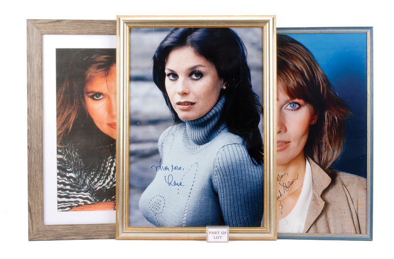 James Bond colour framed pictures which include Maud Adams with signatures - (5) - see photo