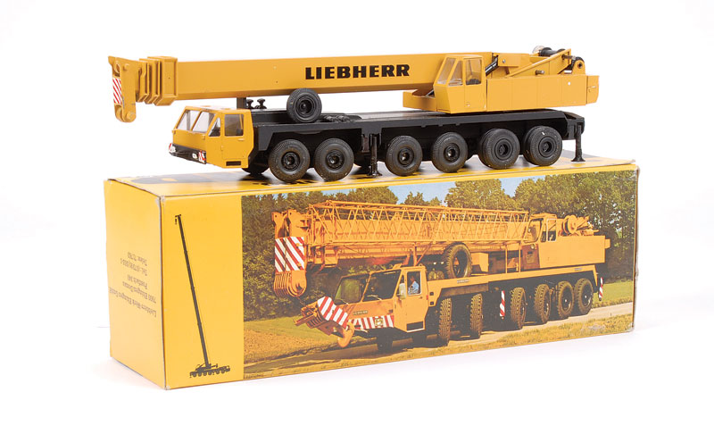 Gescha Liebherr LT1100 Mobile Crane - mustard, black - this 1/50th scale is generally Excellent Plus in Excellent carded picture box