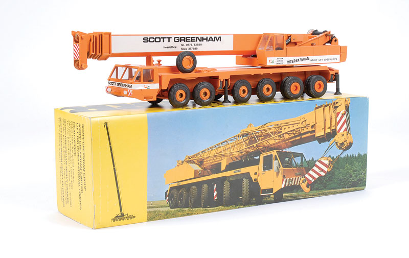 "Gescha Liebherr LT1120 Telescopic Mobile Crane ""Scott Greenham"" Promotional Issue - orange, white - Near Mint in Excellent carded colour picture box"