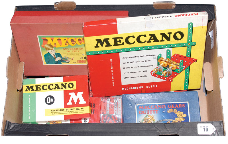 Meccano 1950s and 60s Outfits a quantity consisting of 0A, Gear Outfit A, Gear Outfit B, Accessory Outfit 6A and Mechanism Outfit
