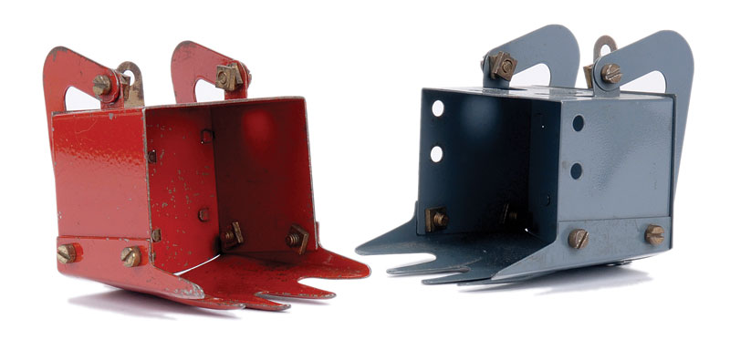 Meccano pair of Digger Buckets in blue, grey and red