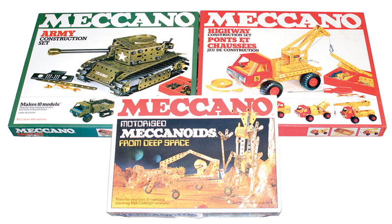 Meccano late issue sets consisting of a Highway Construction Set, Army Construction Set and Motorised Meccanoids from Deep Space Set
