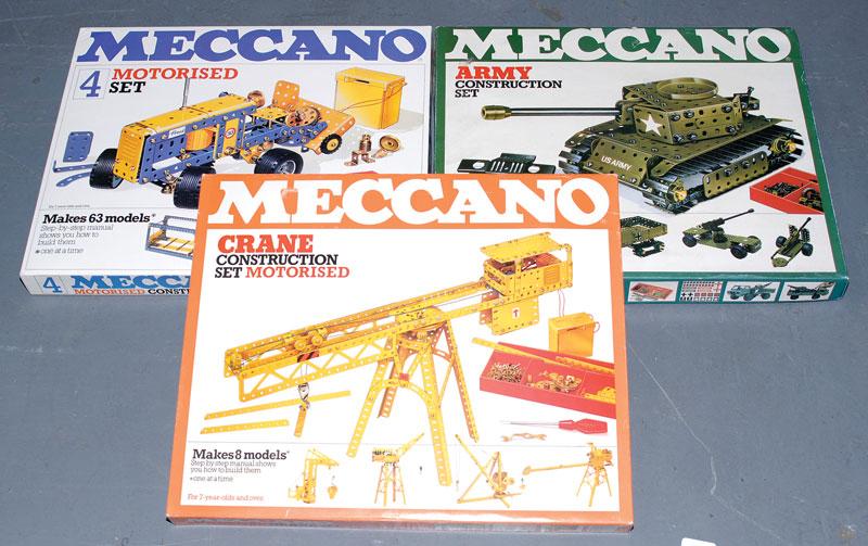 Meccano late issue Construction Sets consisting of Meccano Crane Construction Motorised Set, Army Construction Set and Meccano No