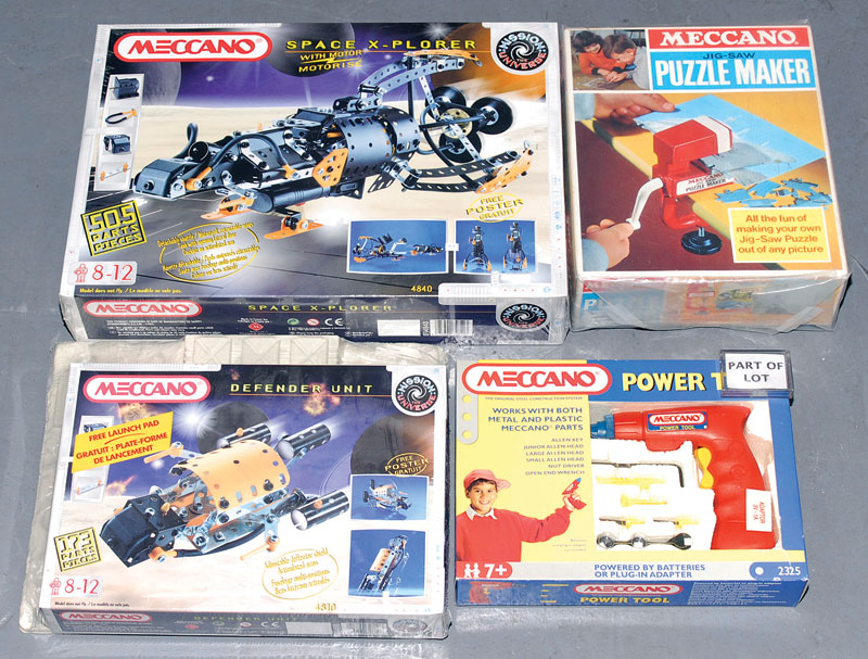 Meccano late issue sets a quantity consisting of Defender Unit, Evolution 3, Space 2501, Space X-plorer, Meccano Puzzle Maker, Motorised Set, further Motorised Set together with Meccano Power Tool with a Merit Electrical Outfit and Constructo CO1 Set