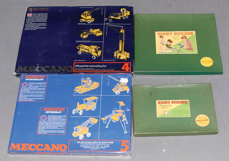 Meccano Dinky Builda a quantity consisting of Meccano late issue set No