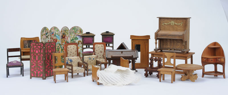 Dolls House Wooden Furniture Including Piano, Set Of Bedroom Furniture  Including 1930s Style Wardrobe, Dressing Table, Pair Of Chairs With Purple  Silk ...