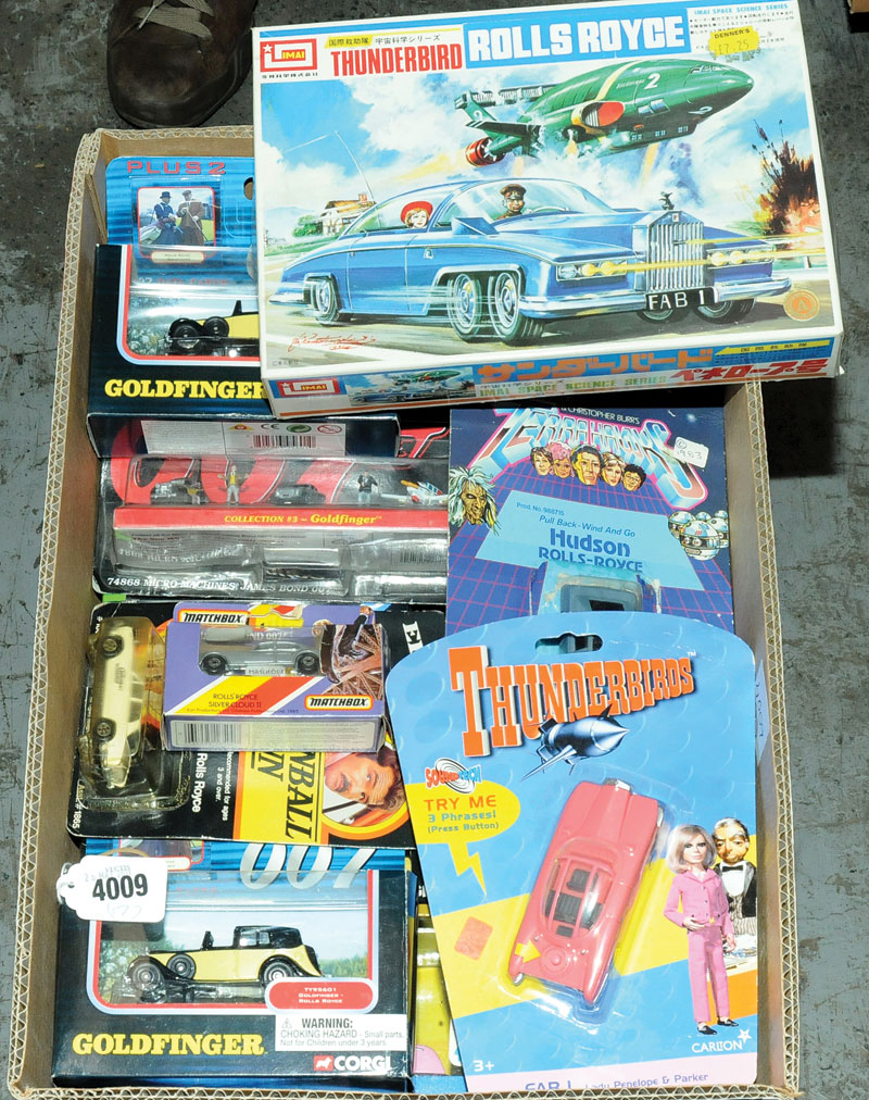 Corgi, Solido, Matchbox, Ertl, Bandai and similar a mixed Rolls Royce and Bentley group which are TV & film related