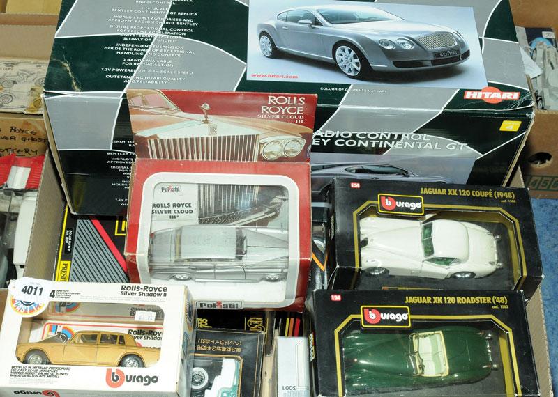 Solido, Burago, Polistil, Diapet, Hitari a mixed Bentley, Rolls Royce and Jaguar group in various scales