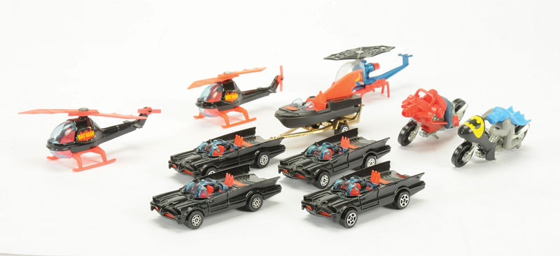 "Corgi Juniors - a group of unboxed Batman related to include 4 x Batmobile, Batboat on Trailer, 2 x Batcopter, Batbike plus ""Spiderman"" Helicopter and Bike - conditions are generally Near Mint to Mint - see photo (10)"