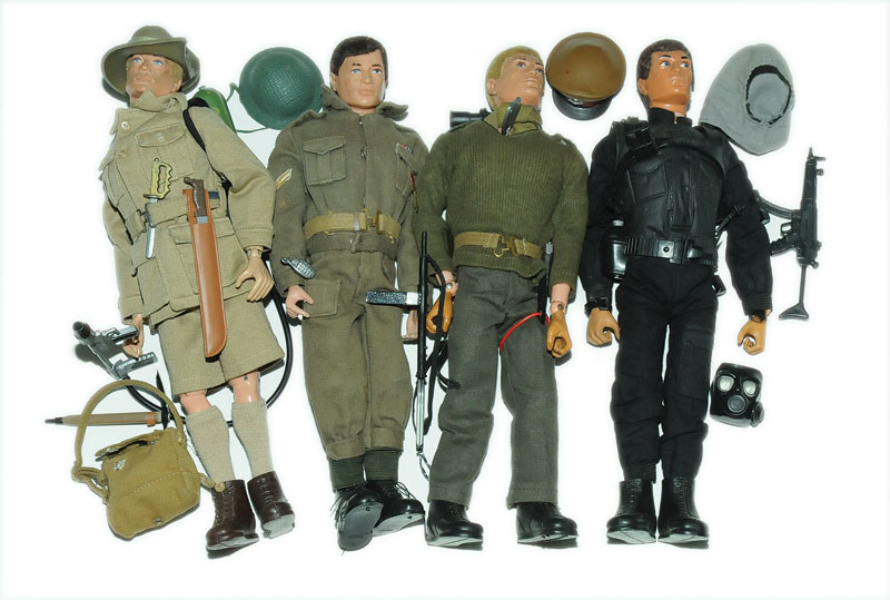 Palitoy Vintage Action Man Four Figures 1 Blonde Flock Hair Blue Painted Eyes Rigid Hands Wearing Australian Jungle Fighter Uniform 1970