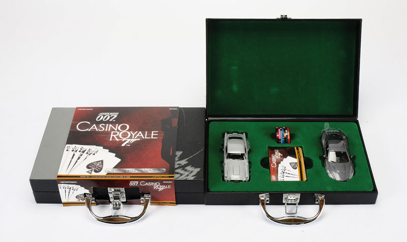 Corgi James Bond 007 Casino Royale pair of Limited Edition Aston Martin DB5 and DBS Boxed Sets #CC99194, Limited Edition to 5000, each comprises DB5 and DBS cars, deck of playing cards and poker chips, Mint within Near Mint attache cases plus outer card s