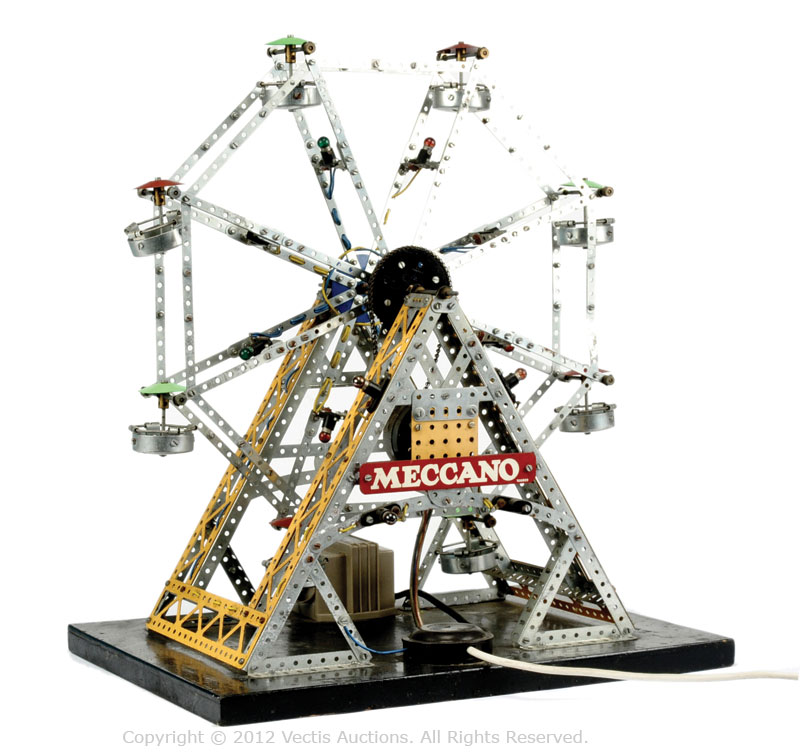 Meccano Display Ferris Wheel constructed primarily in silver/yellow ...