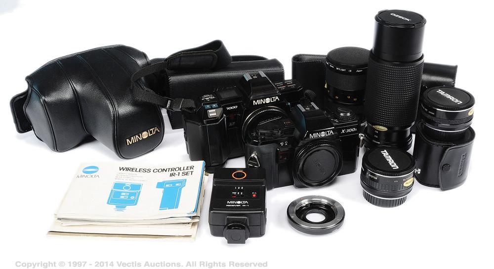 Minolta X 300s And 7000 Camera Lens Flash Group