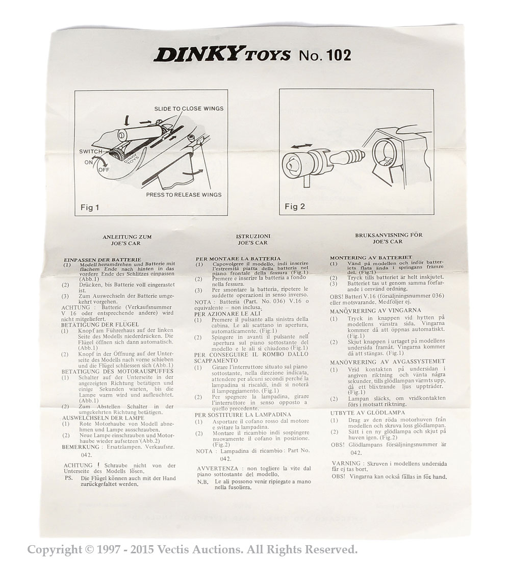 Dinky No102 Joe 90 Joes Car Instruction Sheet Only