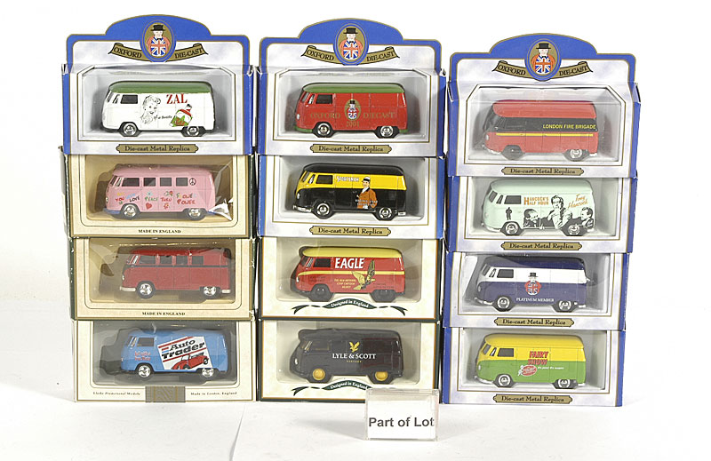 Oxford Diecast and Lledo a small collection of VW Vans all in different livery, many with Limited Edition certificates including - London Fire Brigade, Christmas 2001, Auto Trader, Lyle & Scott and others similar
