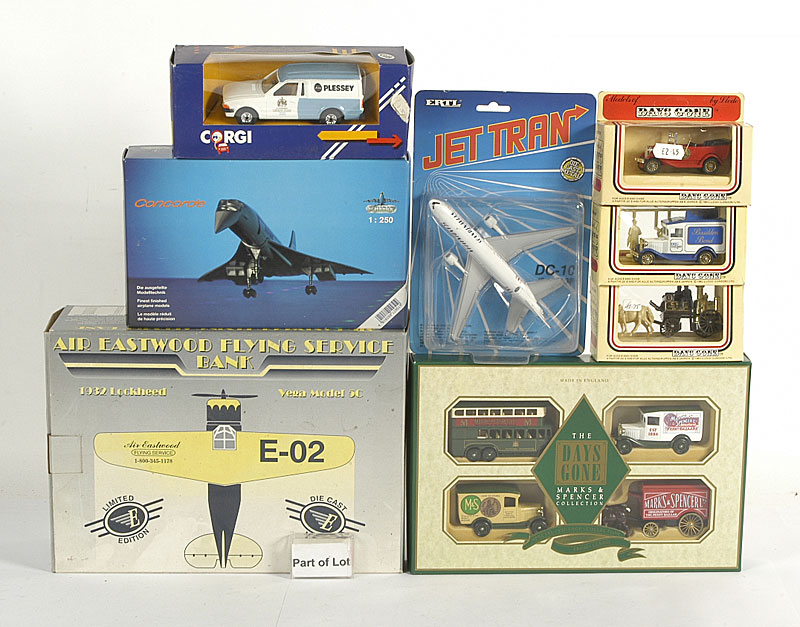 Lledo, Meccano, miscellaneous diecast, plastic items, Aircraft etc - a large collection of miscellaneous including Lledo small Commercials in early window boxes, plastic items, some made in Hong Kong, Ertl Jet Tran Aircraft in blister packs, Shabak Concor