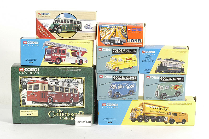 Corgi Classics a small collection including - Foden FG Tanker and Morris J Van National Benzole, AEC Turntable Ladder West Yorkshire Fire Brigade, Leyland Royal Tiger Single Deck Coach Manchester Corporation and others