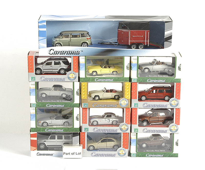 Cararama a large collection of Cars all 1/43rd scale including - Mercedes G Class 4 x 4, Mercedes Gullwing, Mercedes 190SL Roadster, VW Passat Estate