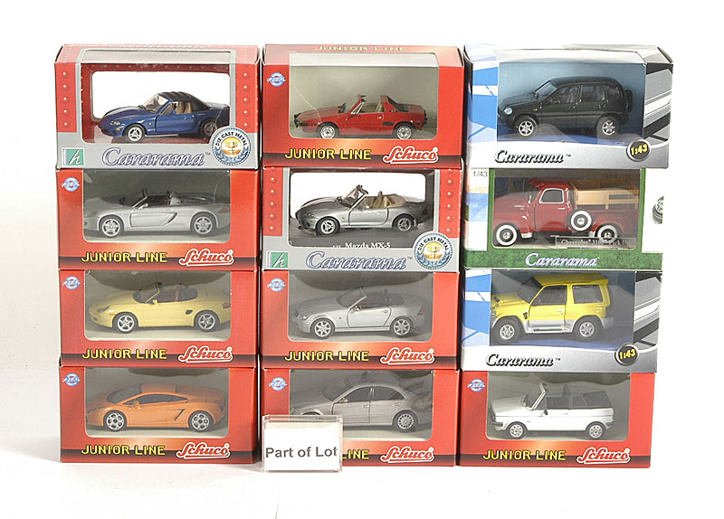 Schuco Junior Cars 1/43rd scale a very large collection including - BMW Isetta, Porsche Boxter, Mercedes E Class, Mazda MX5 and many others