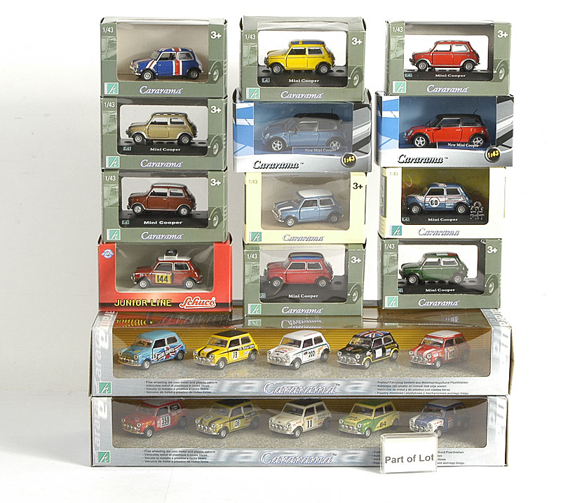 Cararama 1/43rd scale models including - Morgan Collection (each collection contains 5 different models), Mini Collection (5 different versions), Sports Car Collections consisting of MGB, Morgan and Lotus Europa