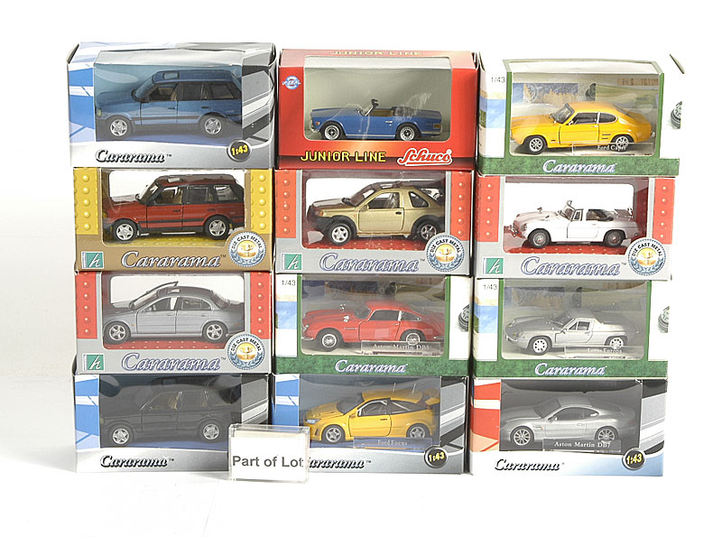 Cararama 1/43rd scale Vehicle Models including - Land Rover, Jaguar S-type, Ford Focus and other similar models