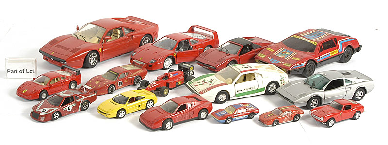 Bburago, Corgi and others unboxed models including - Bburago 1/24th Ferrari in different versions, 1/18th Ferrari GTO (2 models), 1/43rd scale a number of other Ferrari models