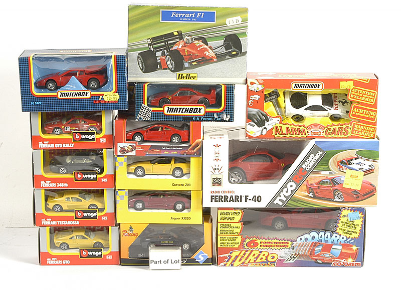 Bburago 1/43rd scale models of various Ferraris including F50, 348TB, Testarossa and others