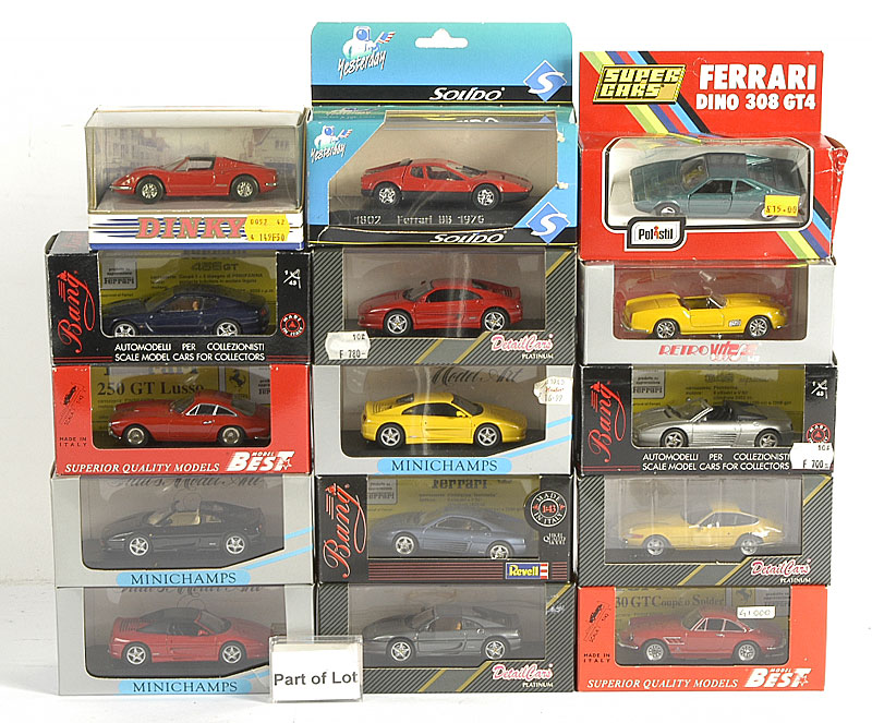 Ferrari models by Detail Cars, Bang, Vitesse, Best, Solido and others including 250 GTL, Daytona 365, 355 Targa and others similar