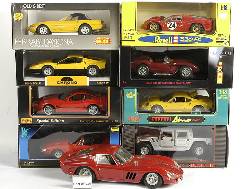 Ferrari models by Tonka, Jouef, Revel and others 1/18th scale including - GTO GT, F40, 275 GTB, Daytona, 330P4 and others similar plus an unboxed 1/12th scale GTO
